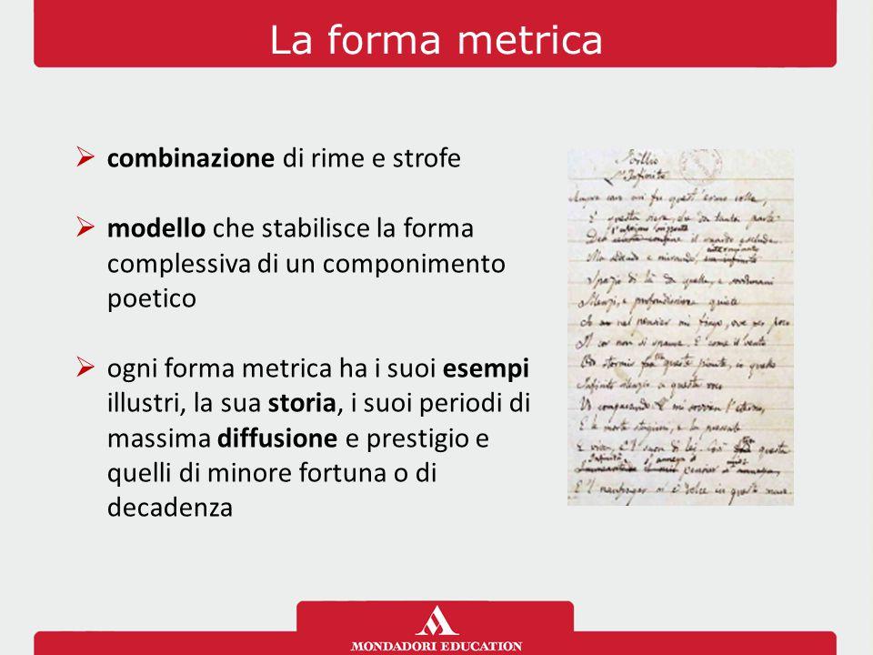 La forma metrica  combinazione di rime e strofe  modello che stabilisce la forma complessiva di un componimento poetico  ogni forma metrica ha i su
