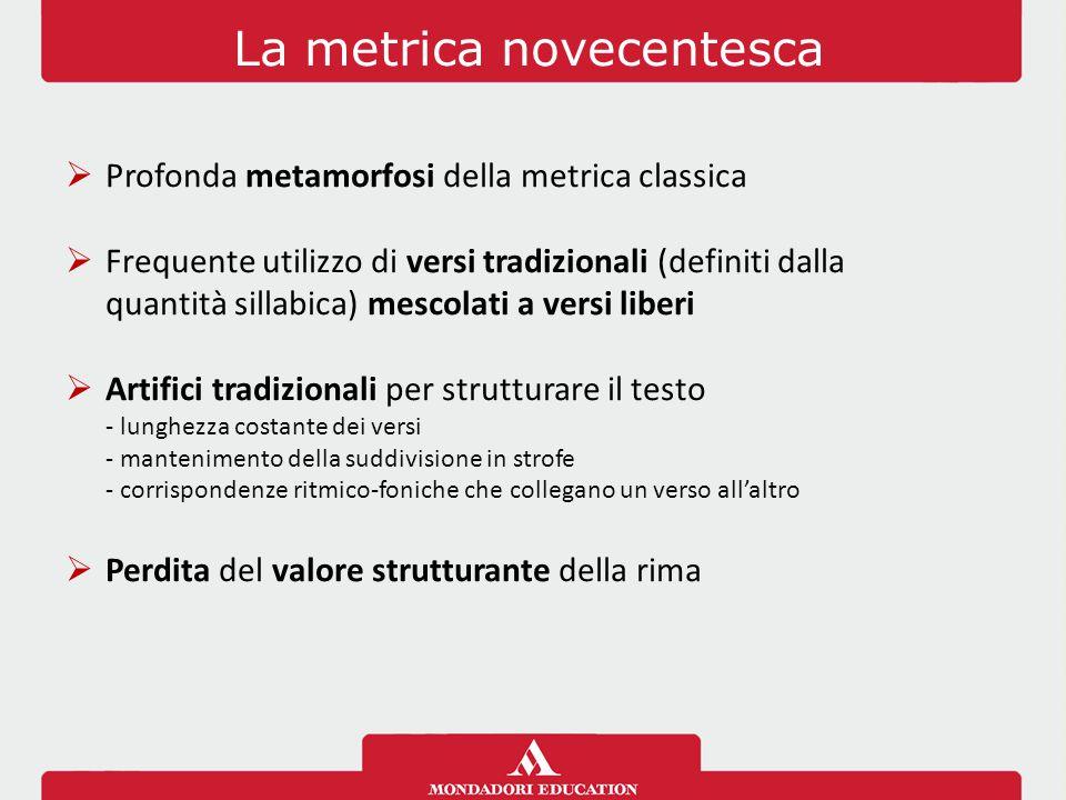 La metrica novecentesca  Profonda metamorfosi della metrica classica  Frequente utilizzo di versi tradizionali (definiti dalla quantità sillabica) m