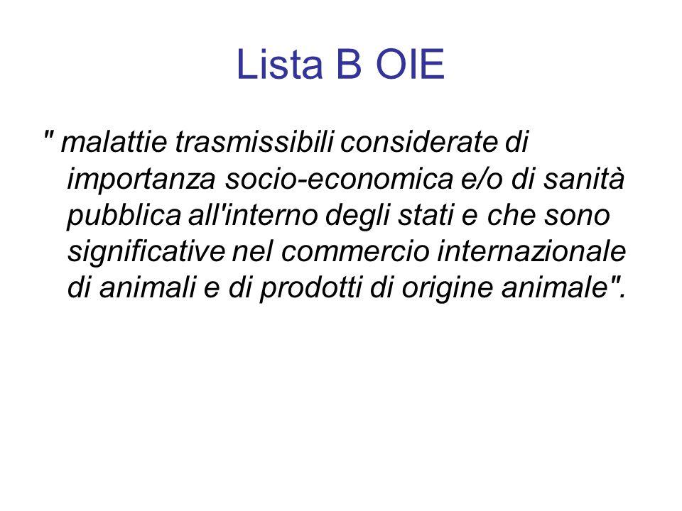 Lista B OIE malattie trasmissibili considerate di importanza socio-economica e/o di sanità pubblica all interno degli stati e che sono significative nel commercio internazionale di animali e di prodotti di origine animale .