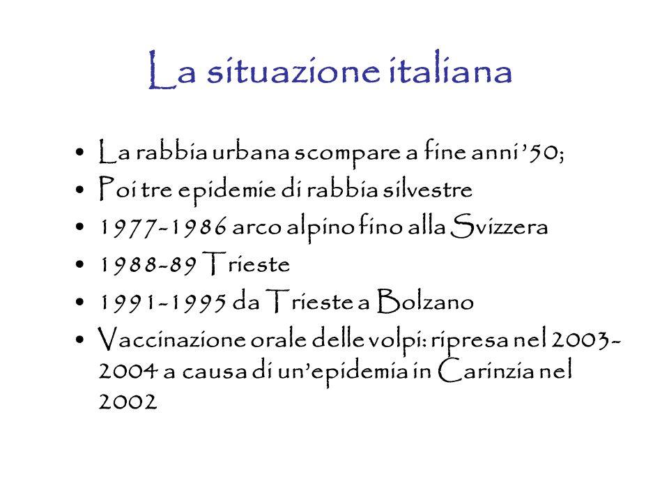 La situazione italiana La rabbia urbana scompare a fine anni '50; Poi tre epidemie di rabbia silvestre 1977-1986 arco alpino fino alla Svizzera 1988-8