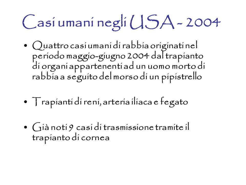Casi umani negli USA - 2004 Quattro casi umani di rabbia originati nel periodo maggio-giugno 2004 dal trapianto di organi appartenenti ad un uomo mort