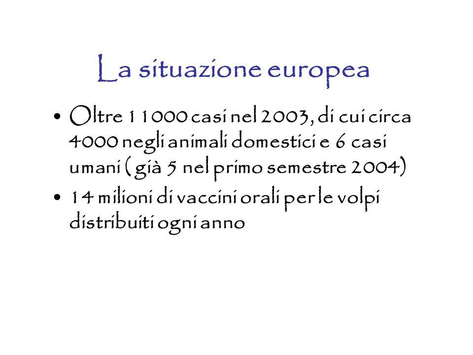 La situazione europea Oltre 11000 casi nel 2003, di cui circa 4000 negli animali domestici e 6 casi umani ( già 5 nel primo semestre 2004) 14 milioni di vaccini orali per le volpi distribuiti ogni anno