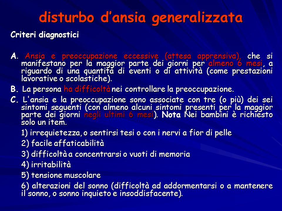 disturbo d'ansia generalizzata Criteri diagnostici A. Ansia e preoccupazione eccessive (attesa apprensiva), che si manifestano per la maggior parte de