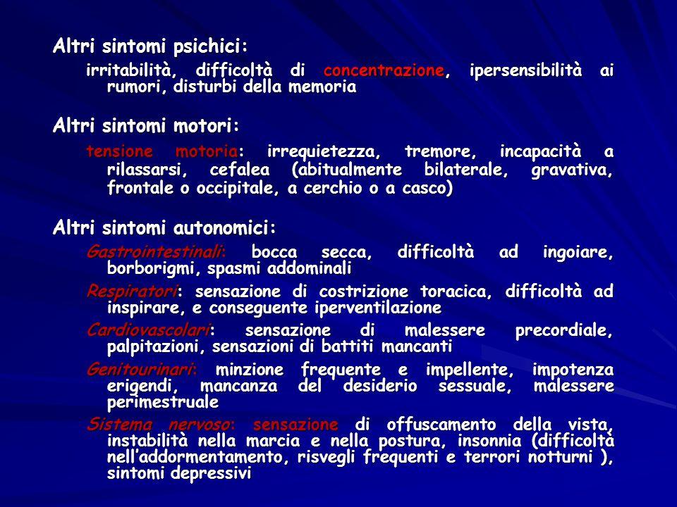 Altri sintomi psichici: irritabilità, difficoltà di concentrazione, ipersensibilità ai rumori, disturbi della memoria Altri sintomi motori: tensione m