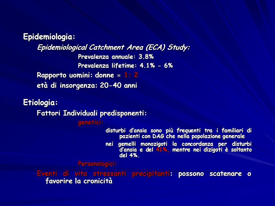Epidemiologia: Epidemiological Catchment Area (ECA) Study: Prevalenza annuale: 3.8% Prevalenza lifetime: 4.1% - 6% Rapporto uomini: donne = 1: 2 età d