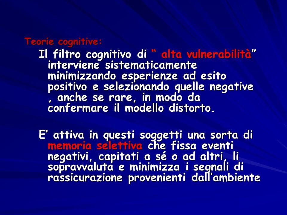 """Teorie cognitive: Il filtro cognitivo di """" alta vulnerabilità"""" interviene sistematicamente minimizzando esperienze ad esito positivo e selezionando qu"""