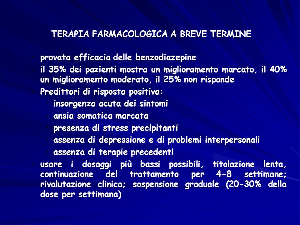 TERAPIA FARMACOLOGICA A BREVE TERMINE –provata efficacia delle benzodiazepine –il 35% dei pazienti mostra un miglioramento marcato, il 40% un migliora