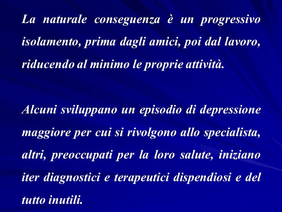 La naturale conseguenza è un progressivo isolamento, prima dagli amici, poi dal lavoro, riducendo al minimo le proprie attività. Alcuni sviluppano un