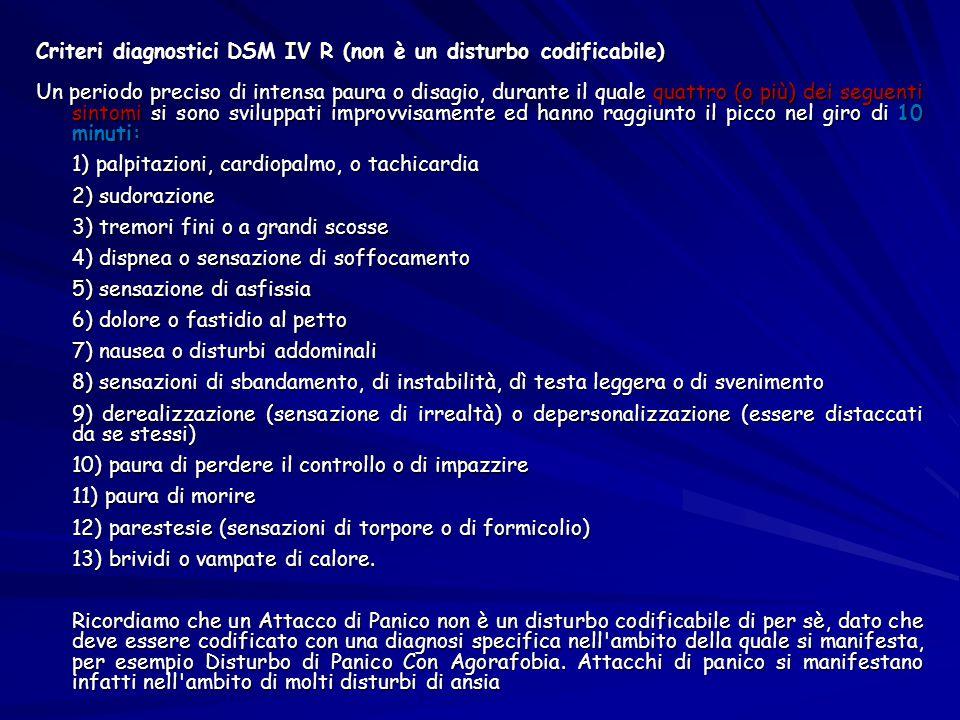 Criteri diagnostici DSM IV R (non è un disturbo codificabile) Un periodo preciso di intensa paura o disagio, durante il quale quattro (o più) dei segu