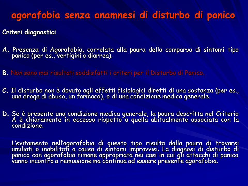 agorafobia senza anamnesi di disturbo di panico Criteri diagnostici A. Presenza di Agorafobia, correlata alla paura della comparsa di sintomi tipo pan
