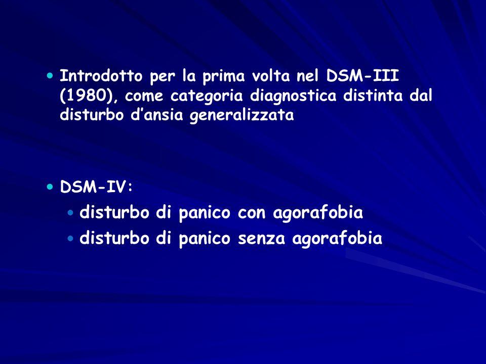 Introdotto per la prima volta nel DSM-III (1980), come categoria diagnostica distinta dal disturbo d'ansia generalizzata DSM-IV: disturbo di panico co