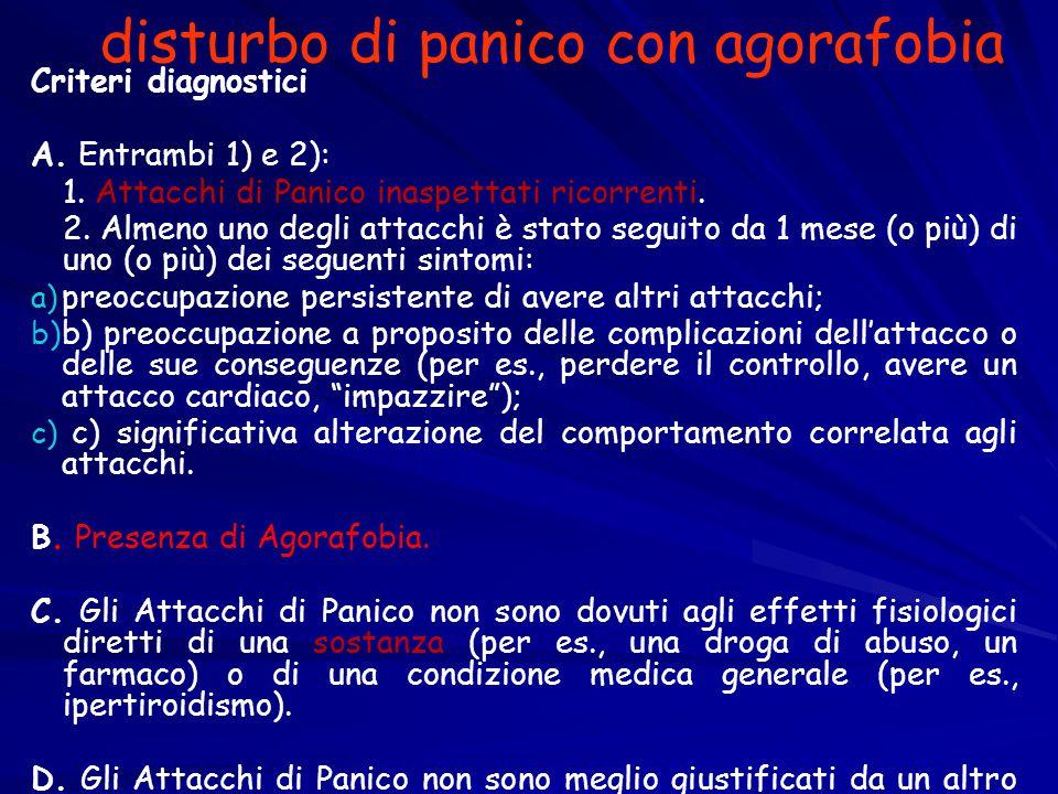 disturbo di panico con agorafobia Criteri diagnostici A. Entrambi 1) e 2): 1. Attacchi di Panico inaspettati ricorrenti. 2. Almeno uno degli attacchi