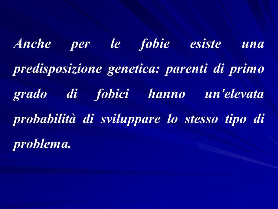 Anche per le fobie esiste una predisposizione genetica: parenti di primo grado di fobici hanno un'elevata probabilità di sviluppare lo stesso tipo di