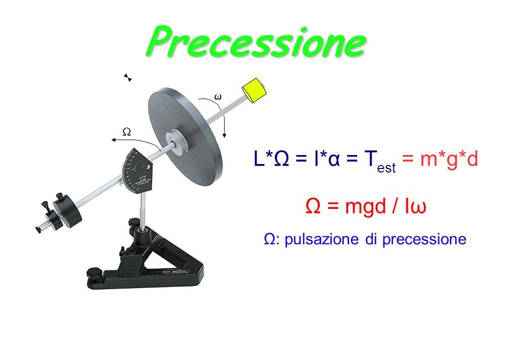 Precessione L*Ω = I*α = T est = m*g*d Ω = mgd / Iω Ω: pulsazione di precessione  