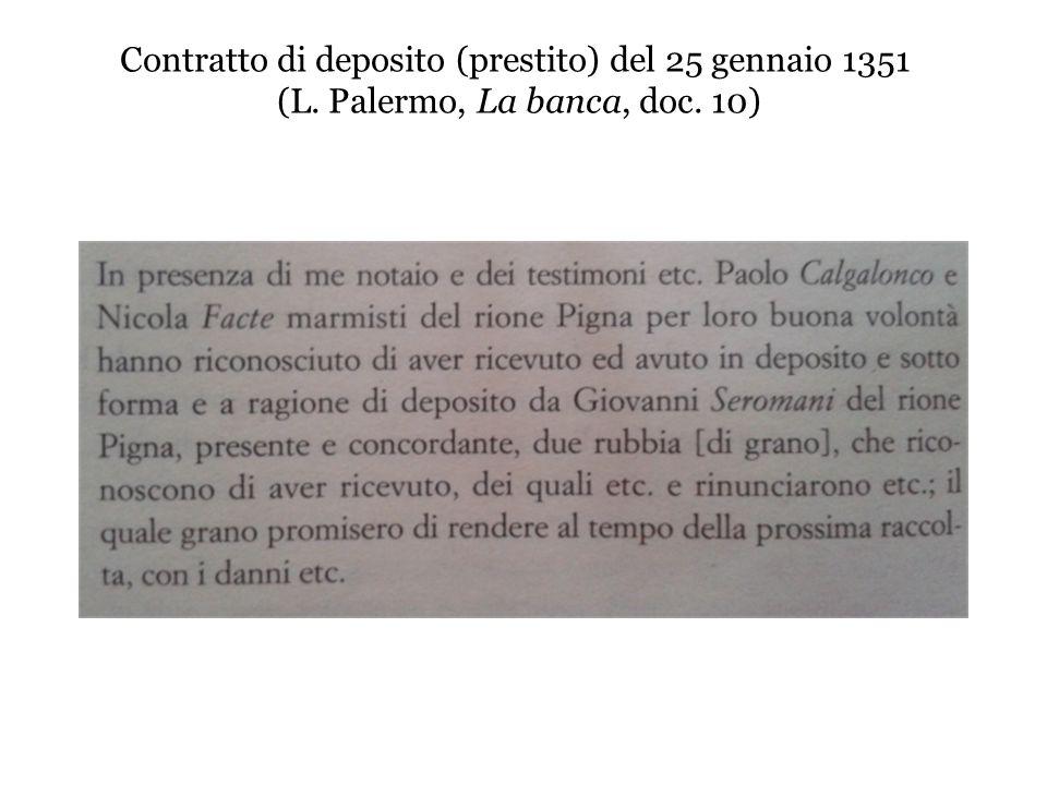 Contratto di deposito (prestito) del 25 gennaio 1351 (L. Palermo, La banca, doc. 10)