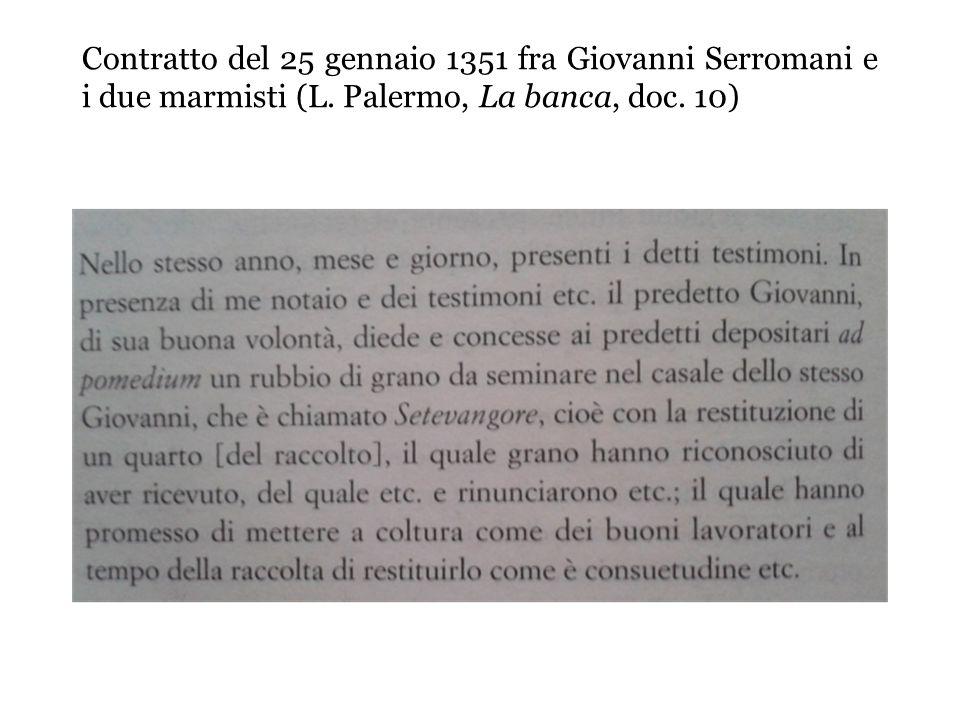 Contratto del 25 gennaio 1351 fra Giovanni Serromani e i due marmisti (L.