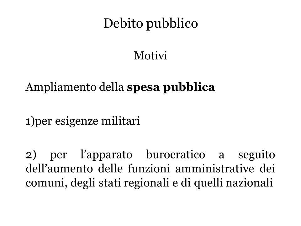 Debito pubblico Motivi Ampliamento della spesa pubblica 1)per esigenze militari 2) per l'apparato burocratico a seguito dell'aumento delle funzioni amministrative dei comuni, degli stati regionali e di quelli nazionali