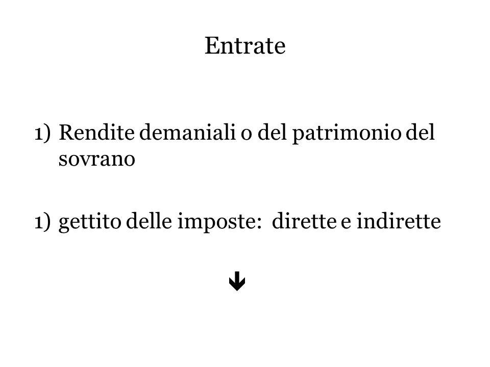 Entrate 1)Rendite demaniali o del patrimonio del sovrano 1)gettito delle imposte: dirette e indirette 