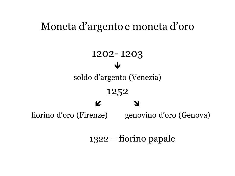 Moneta d'argento e moneta d'oro 1202- 1203  soldo d'argento (Venezia) 1252  fiorino d'oro (Firenze) genovino d'oro (Genova) 1322 – fiorino papale