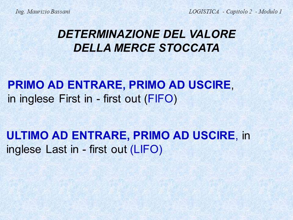 Ing. Maurizio Bassani LOGISTICA - Capitolo 2 - Modulo 1 DETERMINAZIONE DEL VALORE DELLA MERCE STOCCATA PRIMO AD ENTRARE, PRIMO AD USCIRE, in inglese F