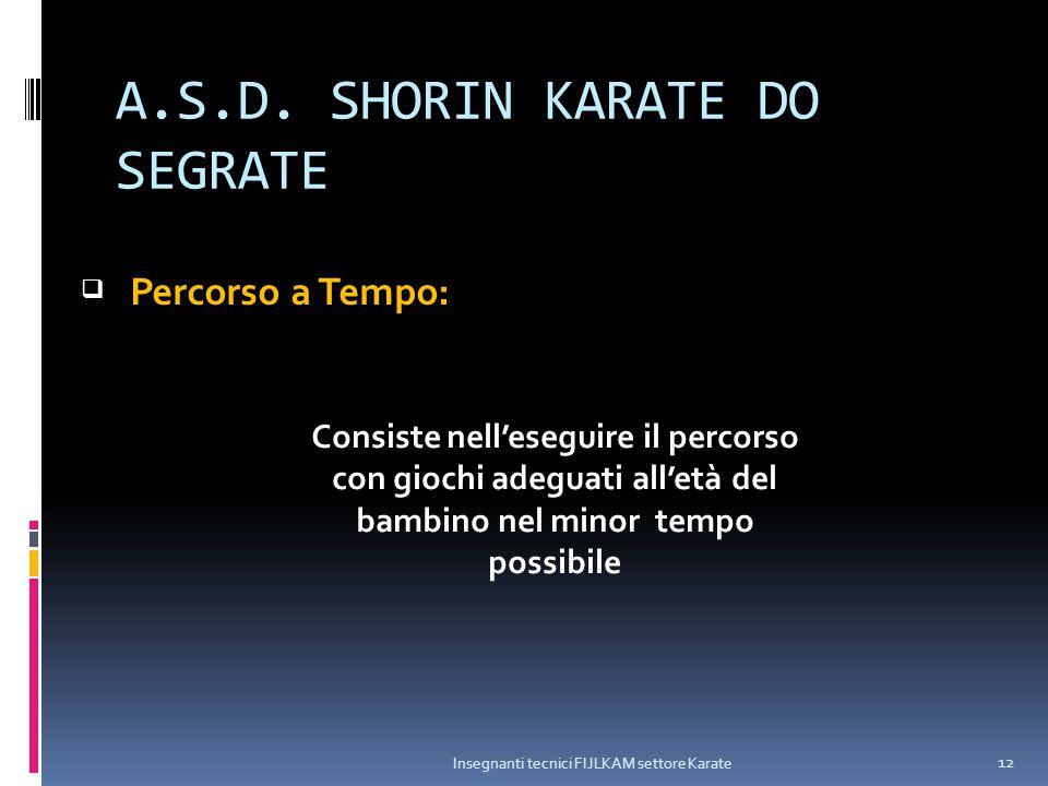 A.S.D. SHORIN KARATE DO SEGRATE Insegnanti tecnici FIJLKAM settore Karate 12  Consiste nell'eseguire il percorso con giochi adeguati all'età del bamb