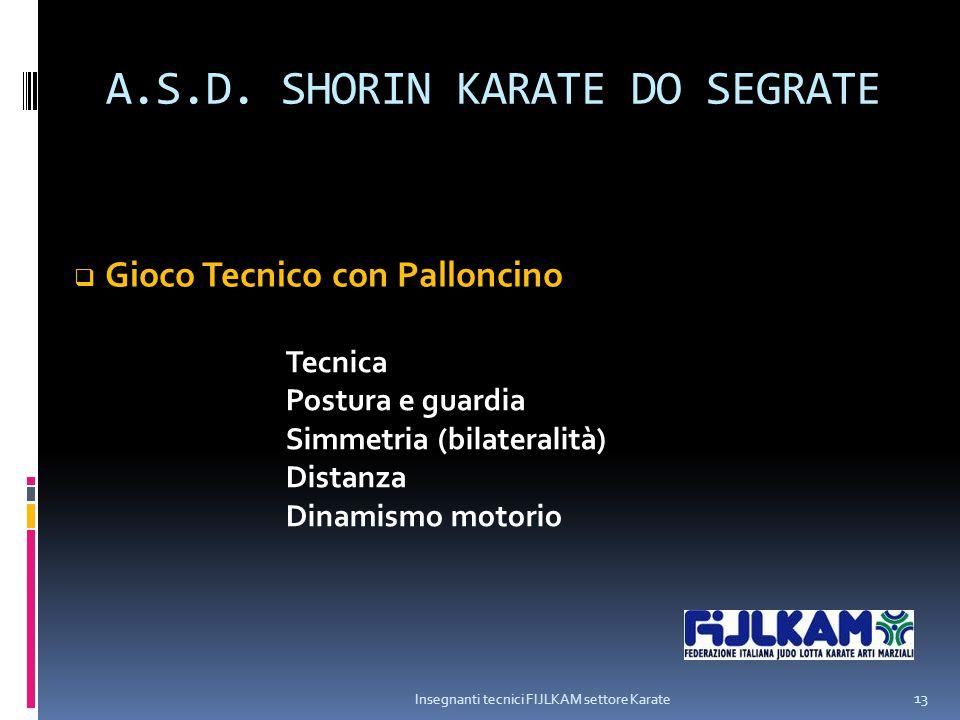 A.S.D. SHORIN KARATE DO SEGRATE Insegnanti tecnici FIJLKAM settore Karate 13  Gioco Tecnico con Palloncino Tecnica Postura e guardia Simmetria (bilat