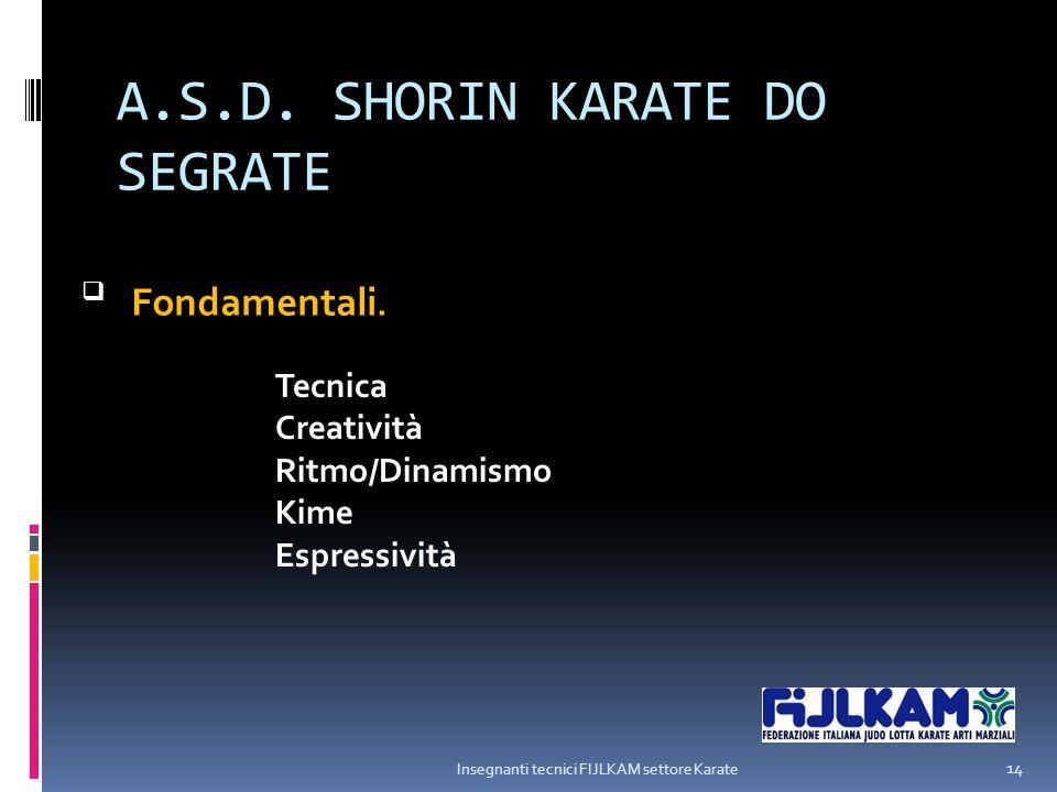 A.S.D. SHORIN KARATE DO SEGRATE Insegnanti tecnici FIJLKAM settore Karate 14  Fondamentali. Tecnica Creatività Ritmo/Dinamismo Kime Espressività