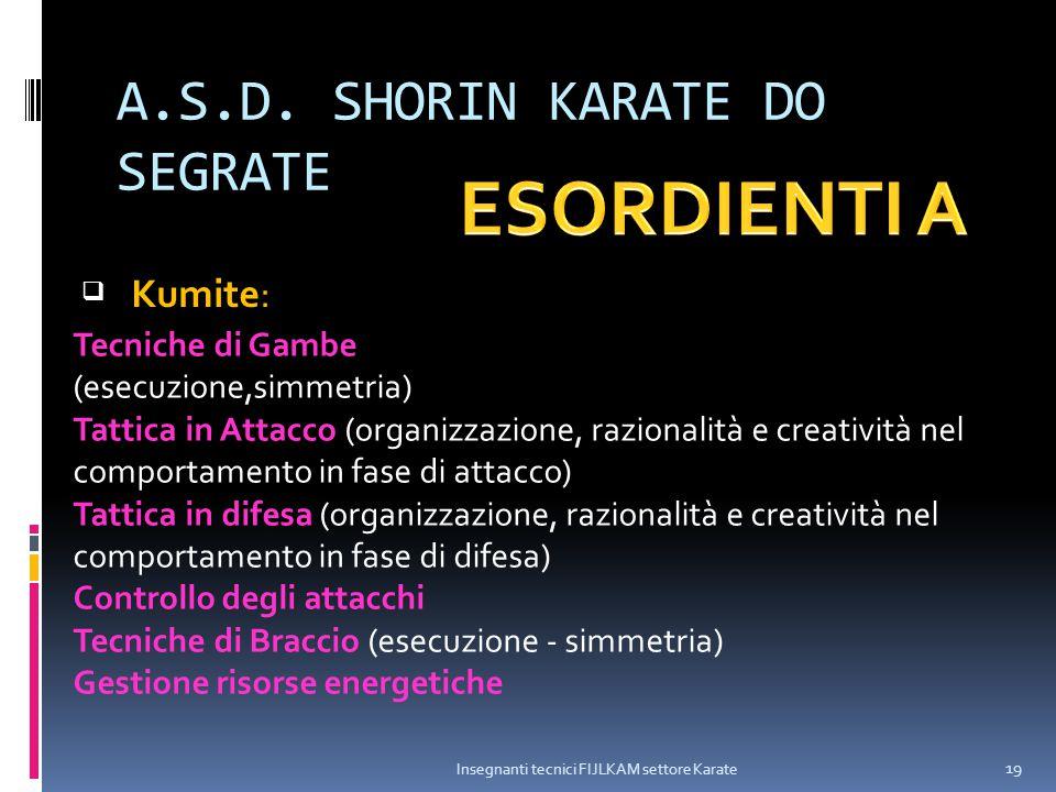 A.S.D. SHORIN KARATE DO SEGRATE Insegnanti tecnici FIJLKAM settore Karate 19  Kumite: Tecniche di Gambe (esecuzione,simmetria) Tattica in Attacco (or