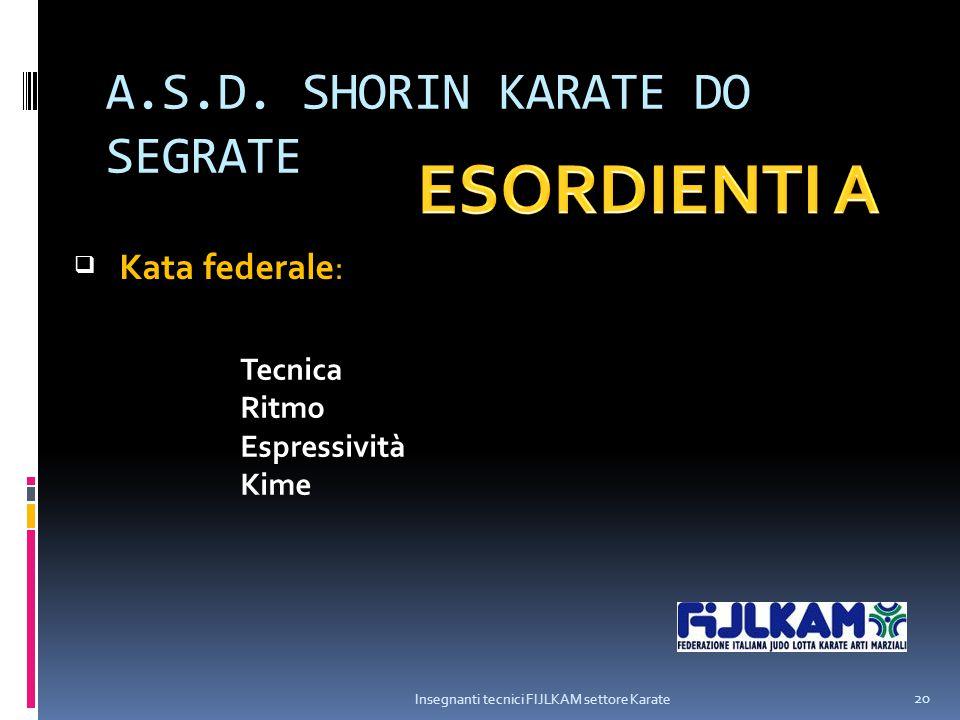 A.S.D. SHORIN KARATE DO SEGRATE Insegnanti tecnici FIJLKAM settore Karate 20  Kata federale: Tecnica Ritmo Espressività Kime