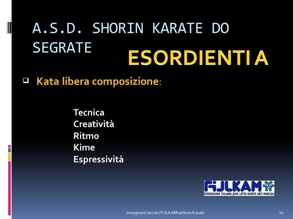 A.S.D. SHORIN KARATE DO SEGRATE Insegnanti tecnici FIJLKAM settore Karate 21  Kata libera composizione: Tecnica Creatività Ritmo Kime Espressività