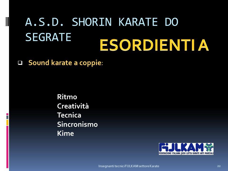A.S.D. SHORIN KARATE DO SEGRATE Insegnanti tecnici FIJLKAM settore Karate 22  Sound karate a coppie: Ritmo Creatività Tecnica Sincronismo Kime