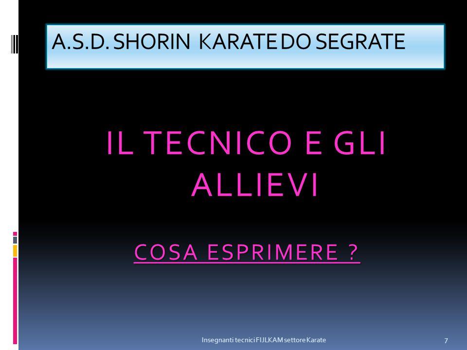 A.S.D. SHORIN KARATE DO SEGRATE IL TECNICO E GLI ALLIEVI COSA ESPRIMERE ? Insegnanti tecnici FIJLKAM settore Karate 7