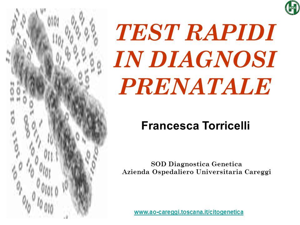 TEST RAPIDI IN DIAGNOSI PRENATALE SOD Diagnostica Genetica Azienda Ospedaliero Universitaria Careggi Francesca Torricelli www.ao-careggi.toscana.it/ci
