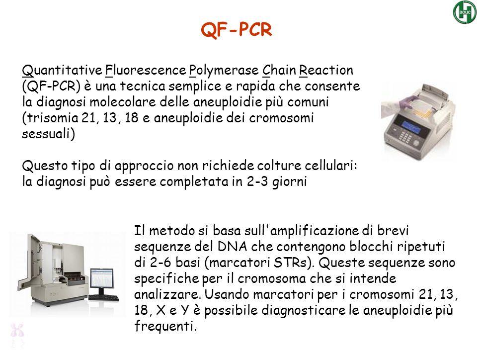Quantitative Fluorescence Polymerase Chain Reaction (QF-PCR) è una tecnica semplice e rapida che consente la diagnosi molecolare delle aneuploidie più