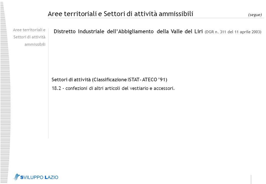 Aree territoriali e Settori di attività ammissibili (segue) Aree territoriali e Settori di attività ammissibili Distretto Industriale dell'Abbigliamento della Valle del Liri (DGR n.