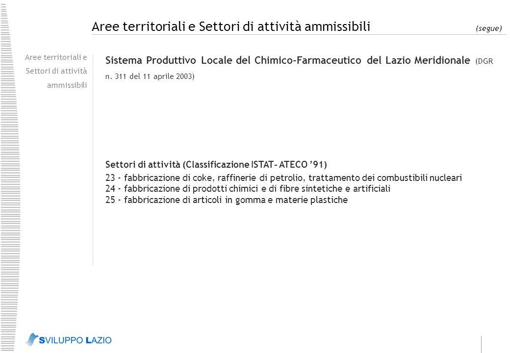 Aree territoriali e Settori di attività ammissibili (segue) Aree territoriali e Settori di attività ammissibili Sistema Produttivo Locale del Chimico-Farmaceutico del Lazio Meridionale (DGR n.