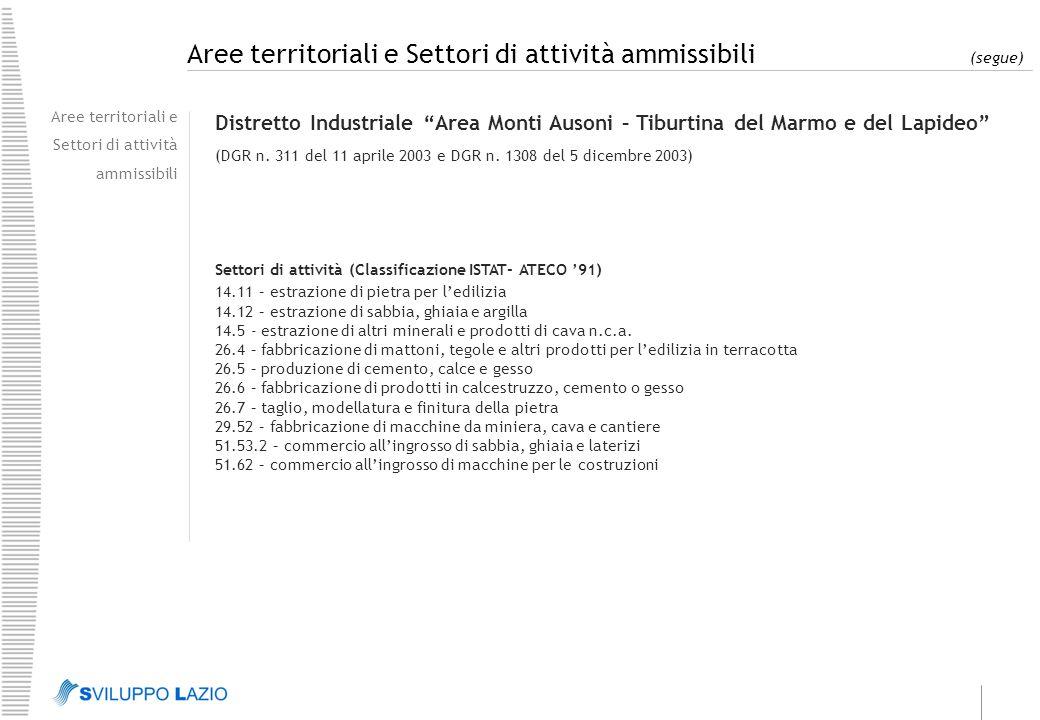 Aree territoriali e Settori di attività ammissibili (segue) Aree territoriali e Settori di attività ammissibili Sistema Produttivo Locale Agro-Industriale Pontino (DGR n.