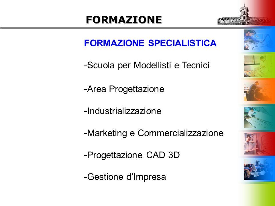 FORMAZIONE SPECIALISTICA -Scuola per Modellisti e Tecnici -Area Progettazione -Industrializzazione -Marketing e Commercializzazione -Progettazione CAD 3D -Gestione d'Impresa FORMAZIONE