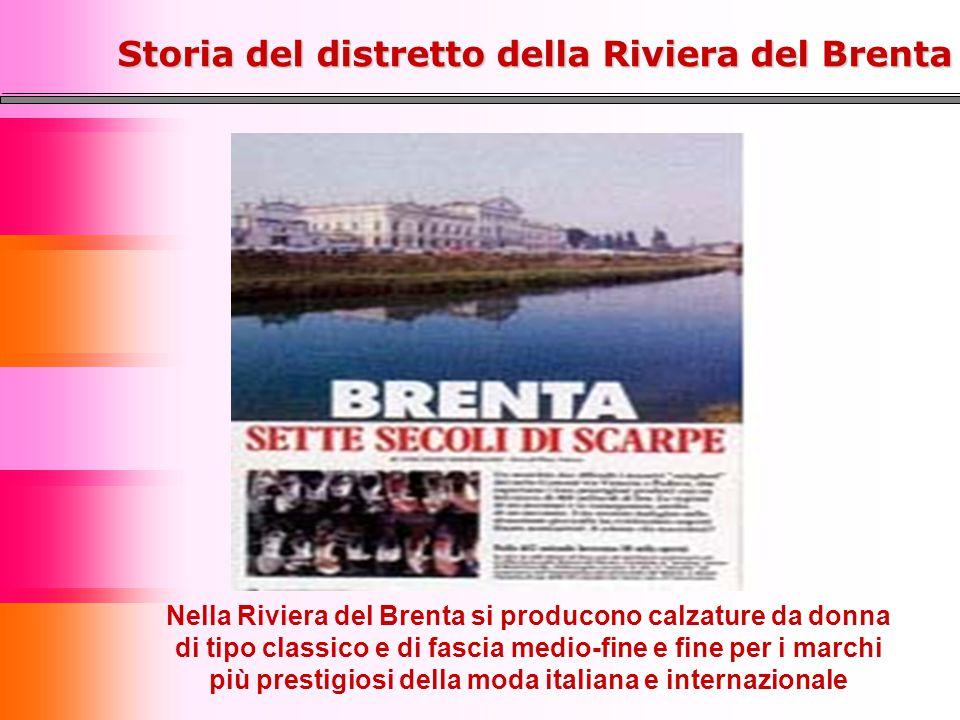 Nella Riviera del Brenta si producono calzature da donna di tipo classico e di fascia medio-fine e fine per i marchi più prestigiosi della moda italiana e internazionale Storia del distretto della Riviera del Brenta