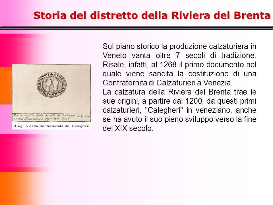 Sul piano storico la produzione calzaturiera in Veneto vanta oltre 7 secoli di tradizione. Risale, infatti, al 1268 il primo documento nel quale viene
