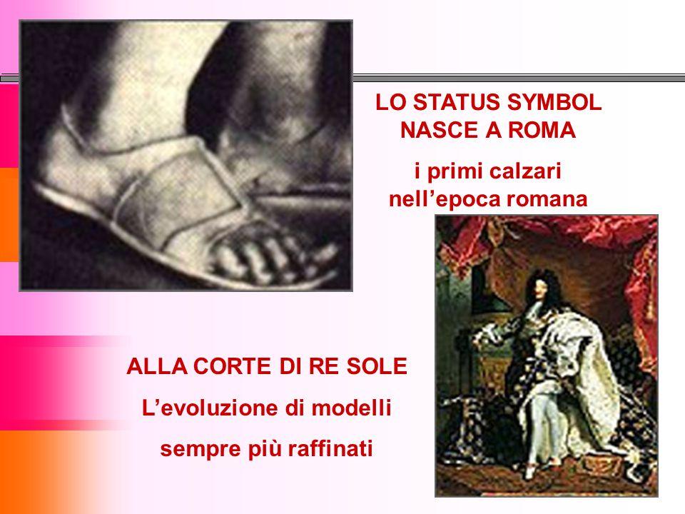LO STATUS SYMBOL NASCE A ROMA i primi calzari nell'epoca romana ALLA CORTE DI RE SOLE L'evoluzione di modelli sempre più raffinati