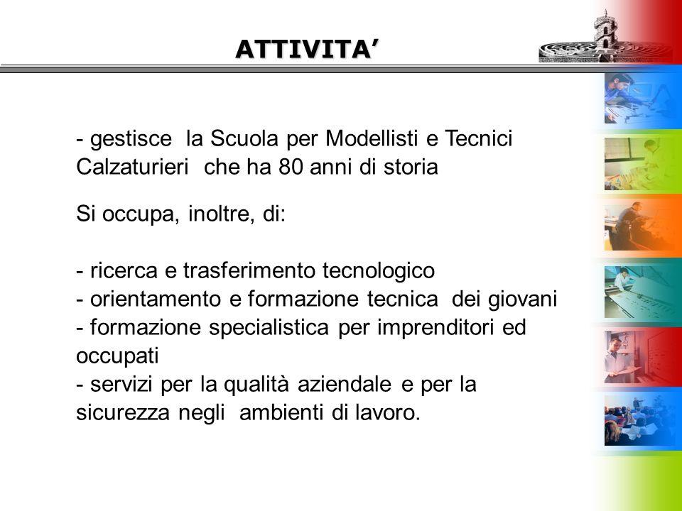 ATTIVITA' - gestisce la Scuola per Modellisti e Tecnici Calzaturieri che ha 80 anni di storia Si occupa, inoltre, di: - ricerca e trasferimento tecnol