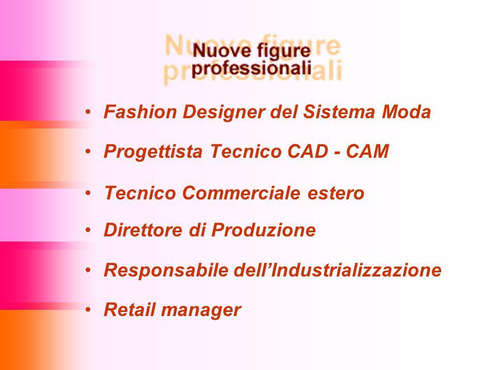Fashion Designer del Sistema Moda Progettista Tecnico CAD - CAM Tecnico Commerciale estero Direttore di Produzione Responsabile dell'Industrializzazione Retail manager