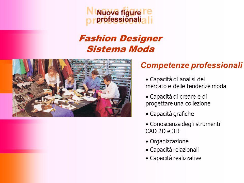 Fashion Designer Sistema Moda Competenze professionali Capacità di analisi del mercato e delle tendenze moda Capacità di creare e di progettare una collezione Capacità grafiche Conoscenza degli strumenti CAD 2D e 3D Organizzazione Capacità relazionali Capacità realizzative