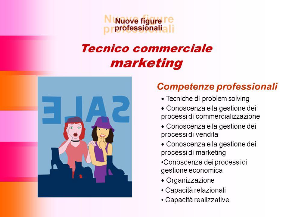 Tecnico commerciale marketing Competenze professionali Tecniche di problem solving Conoscenza e la gestione dei processi di commercializzazione Conosc