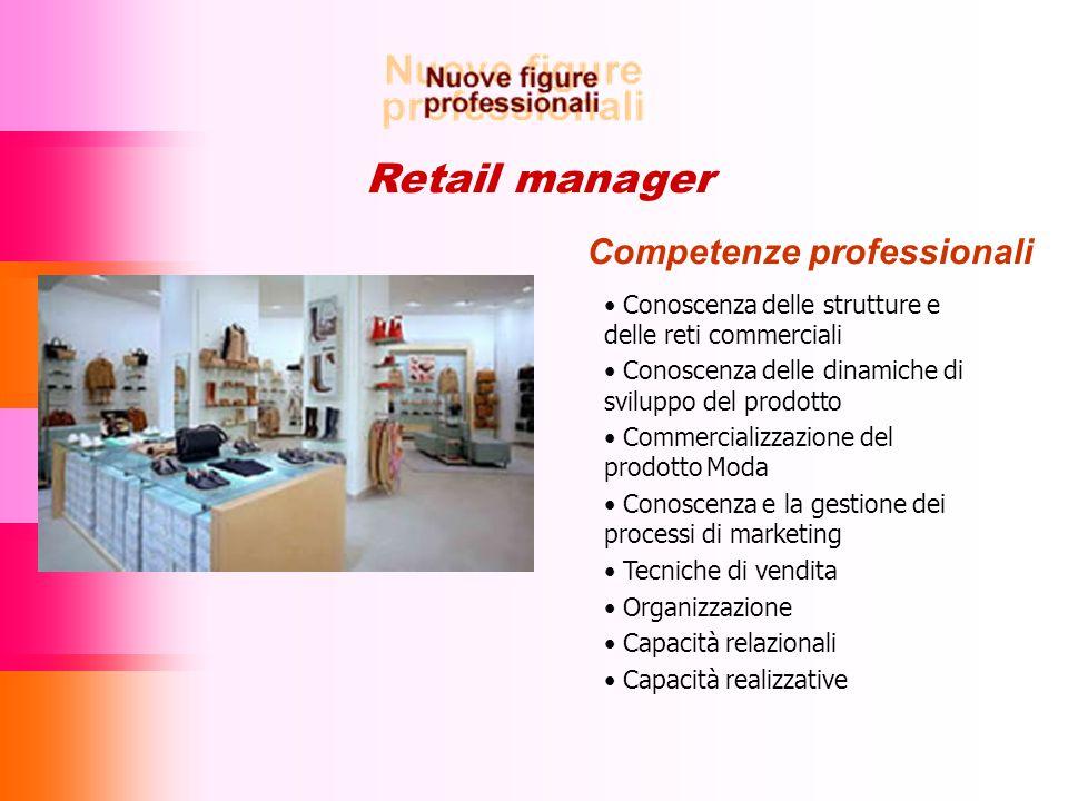 Retail manager Competenze professionali Conoscenza delle strutture e delle reti commerciali Conoscenza delle dinamiche di sviluppo del prodotto Commer