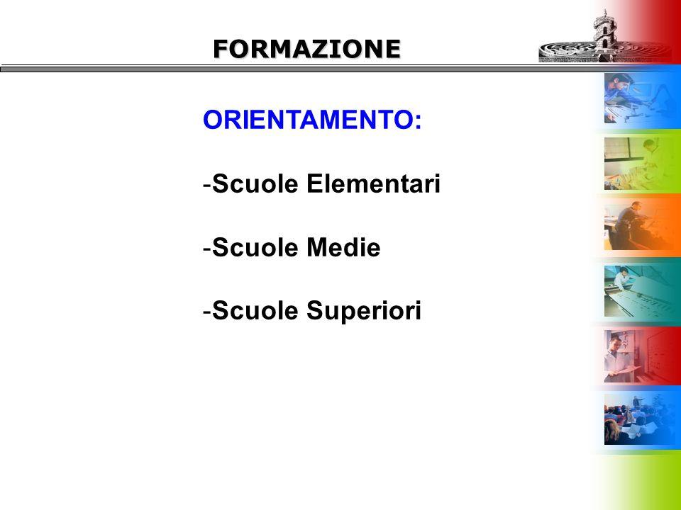 ORIENTAMENTO: -Scuole Elementari -Scuole Medie -Scuole Superiori FORMAZIONE