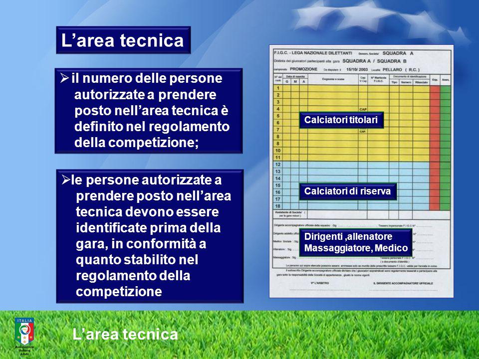 L'area tecnica  il numero delle persone autorizzate a prendere posto nell'area tecnica è definito nel regolamento della competizione;  le persone au