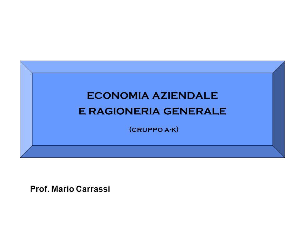 ECONOMIA AZIENDALE E RAGIONERIA GENERALE (gruppo a-k) Prof. Mario Carrassi