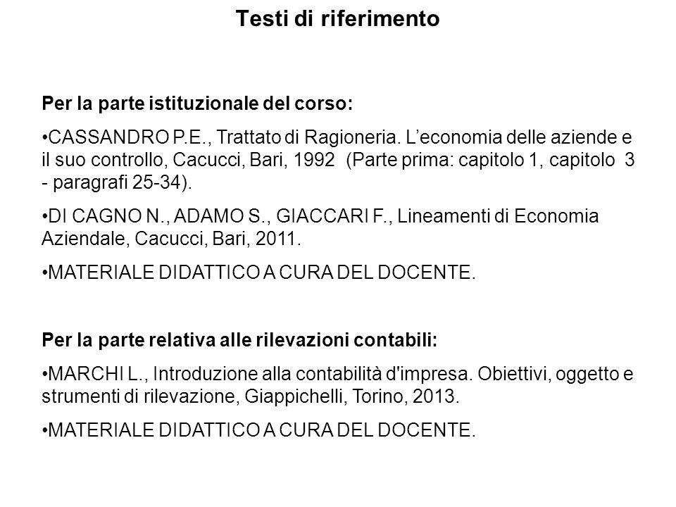 Testi di riferimento Per la parte istituzionale del corso: CASSANDRO P.E., Trattato di Ragioneria. L'economia delle aziende e il suo controllo, Cacucc